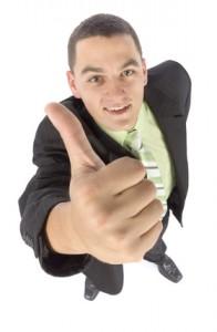 headshot of happy businessman - ok